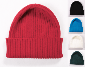 5d366b9e08d Image is loading 100-Lambs-Wool-Ribbed-Turn-Up-Beanie-Hats-