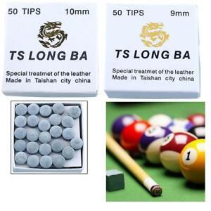 Set-Of-50pcs-9-10mm-Leather-Snooker-Billiard-Pool-Cue-Tips-Super-Pro-Medium-Tip