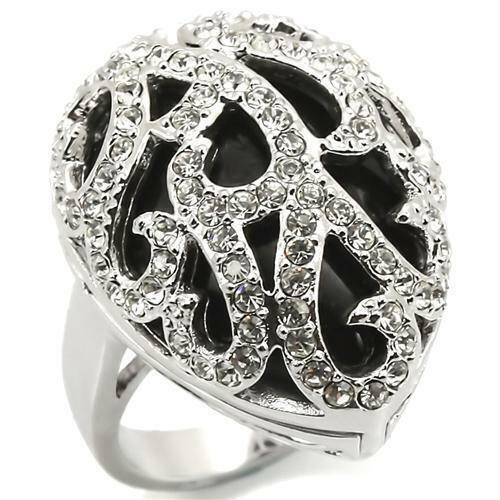 LOA943 NATURAL BLACK AGATE SIMULATED DIAMOND RING STATEMENT WOMENS
