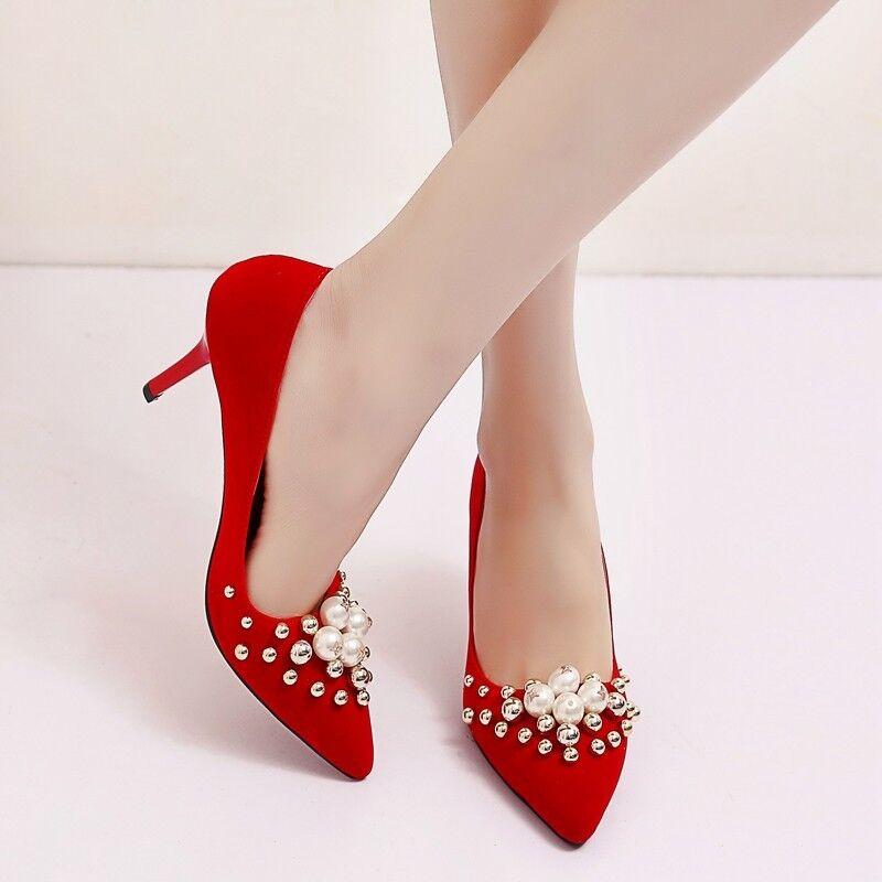 Women Luxury Pearl High Stilettos Heels Pumps Bridal Dress Wedding Shoes Plus SZ