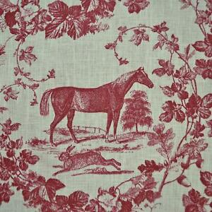 Textiles-francais-Equestrian-Horse-Print-The-Noble-Horse-100-Linen-Toile-Red