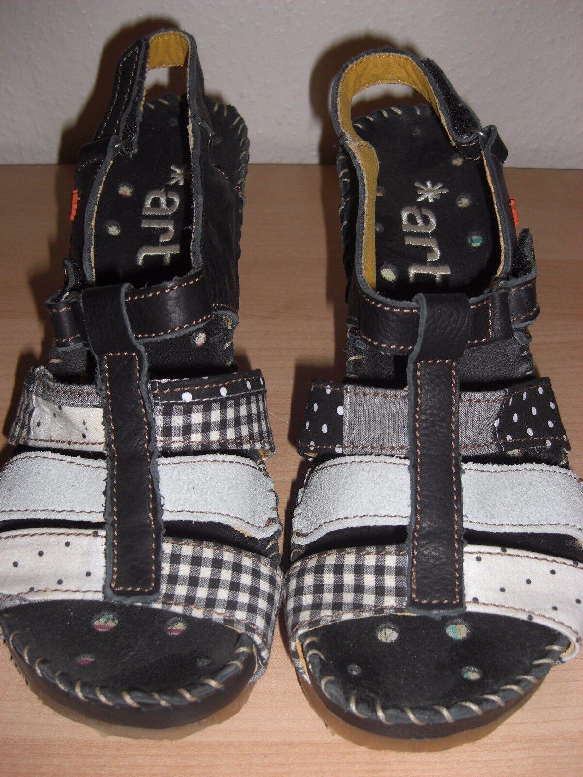 The Art Company Paris  Sandalee mit Keilabsatz Gr. 39 NEU schwarz-weiß Leder