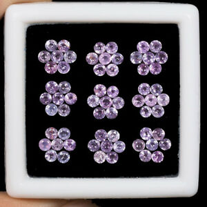 63-Pcs-2-5mm-Natural-Pink-Sapphire-Round-Cut-Sparkling-Gemstones-Lot-Sri-Lanka