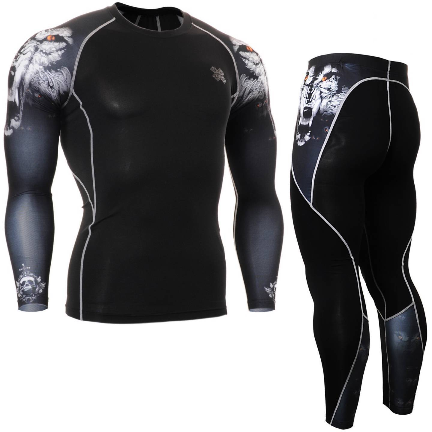 FIXGEAR CPD P2L-B18 SET Compression Shirts & Pants Skin-tight MMA Training Gym