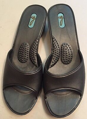 Contemplative Okabashi Oka-b Women's Sandals Ml 8.5-9.5 Pewter Silver Slides Heels Wedge New Excellent In Cushion Effect Clothing, Shoes & Accessories