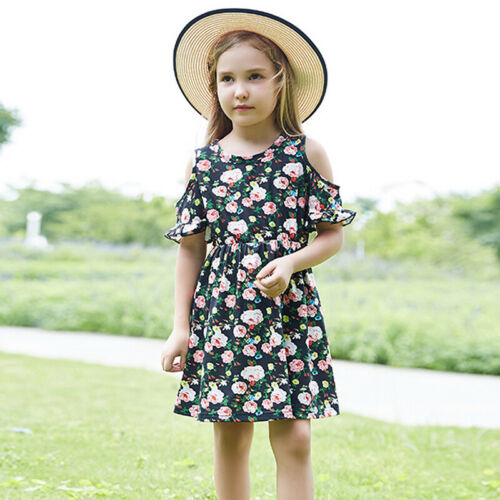 Kids Girls Floral Cold Shoulder Summer Casual Holiday Beach Mini Dress Clothes