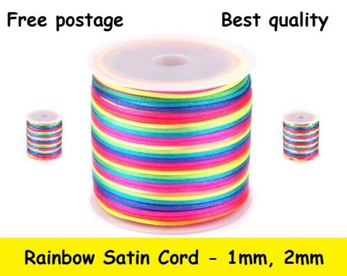 Rainbow Satin Nylon Cord Rattail Thread 1 or 2mm for Shamballa Kumihimo Macrame