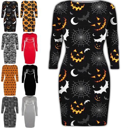 Womens Halloween Spider Cobweb Spooky Scary Pumpkin Bats Ladies Bodycon Dress