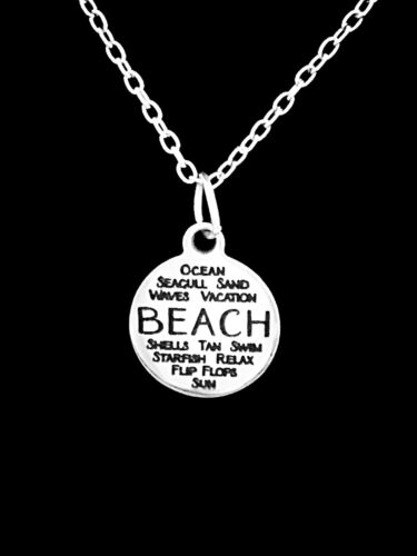 Beach Charm Necklace Nautical Palm Tree Seashell Starfish Christmas Gift