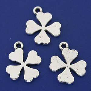 SC2620 10 Leaf Charms Antique Silver Tone 2 Sided
