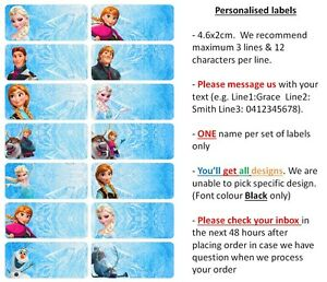 36 Disney Frozen Personalised Name Label Sticker School