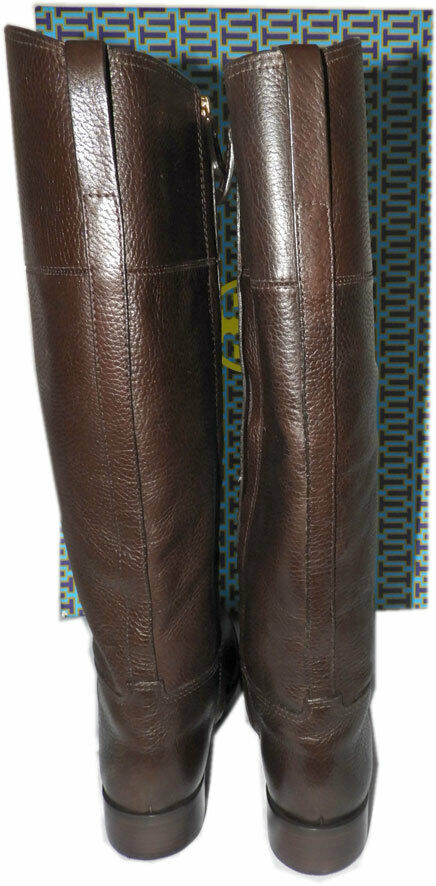Tory Burch Junction Riding Boots Flat Equestrian Booties 9 gold gold gold Logo Brown 25dda8