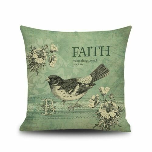 Vintage Flower And Birds Painting Pillow Case Linen Sofa Cushion Cover Home Deco