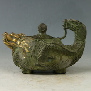 Collection-Crush-Chinese-old-Bronze-Hand-Carved-Dragon-Teapot-Kangxi-Mark