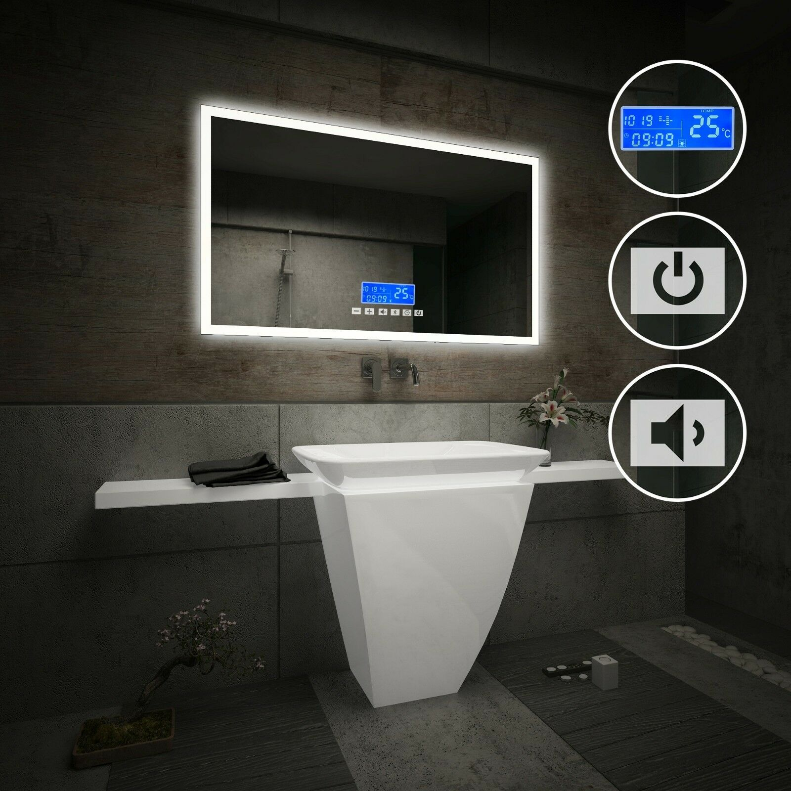 LED Illuminated Bathroom Mirror   LCD Panel with Switch & bleutooth Speaker L01