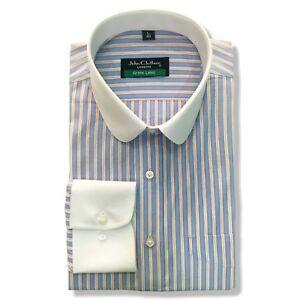 PENNY Da Uomo Colletto Peaky Blinder Camicia Blu Arancione Strisce BANCHIERI ROUND Gents  </span>