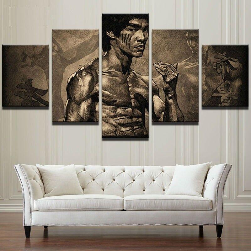 Kung Fu Master Bruce Lee Legend Martial Arts Fight 5 Panel Canvas Print Wall Art