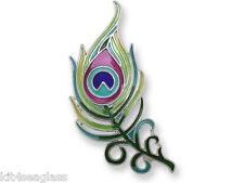 Zarah Zarlite PEACOCK FEATHER PIN Silver Plated Enamel Brooch - Gift Wrapped Box