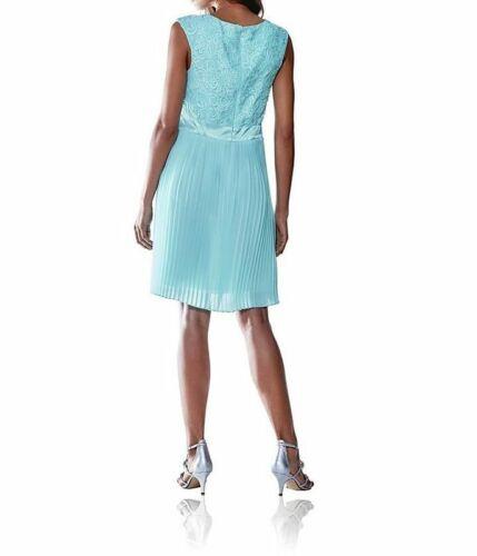 ASHLEY BROOKE Damen Designer-Spitzen-Plisseekleid aqua