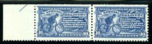 USAstamps-Unused-VF-US-Special-Delivery-Pair-With-Rare-Pink-Gum-Scott-E11-OG-MNH