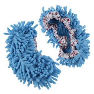 2X-1-Paar-Bequeme-Staub-Mop-Hausschuhe-Schuhe-Bodenreiniger-Blau-T2R8