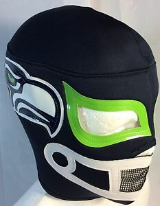 SEATTLE SEAHAWKS!LUCHADOR-WRESTLER MASK!LIME GREEN EYES NEW ITEM! GREAT FOR FANS