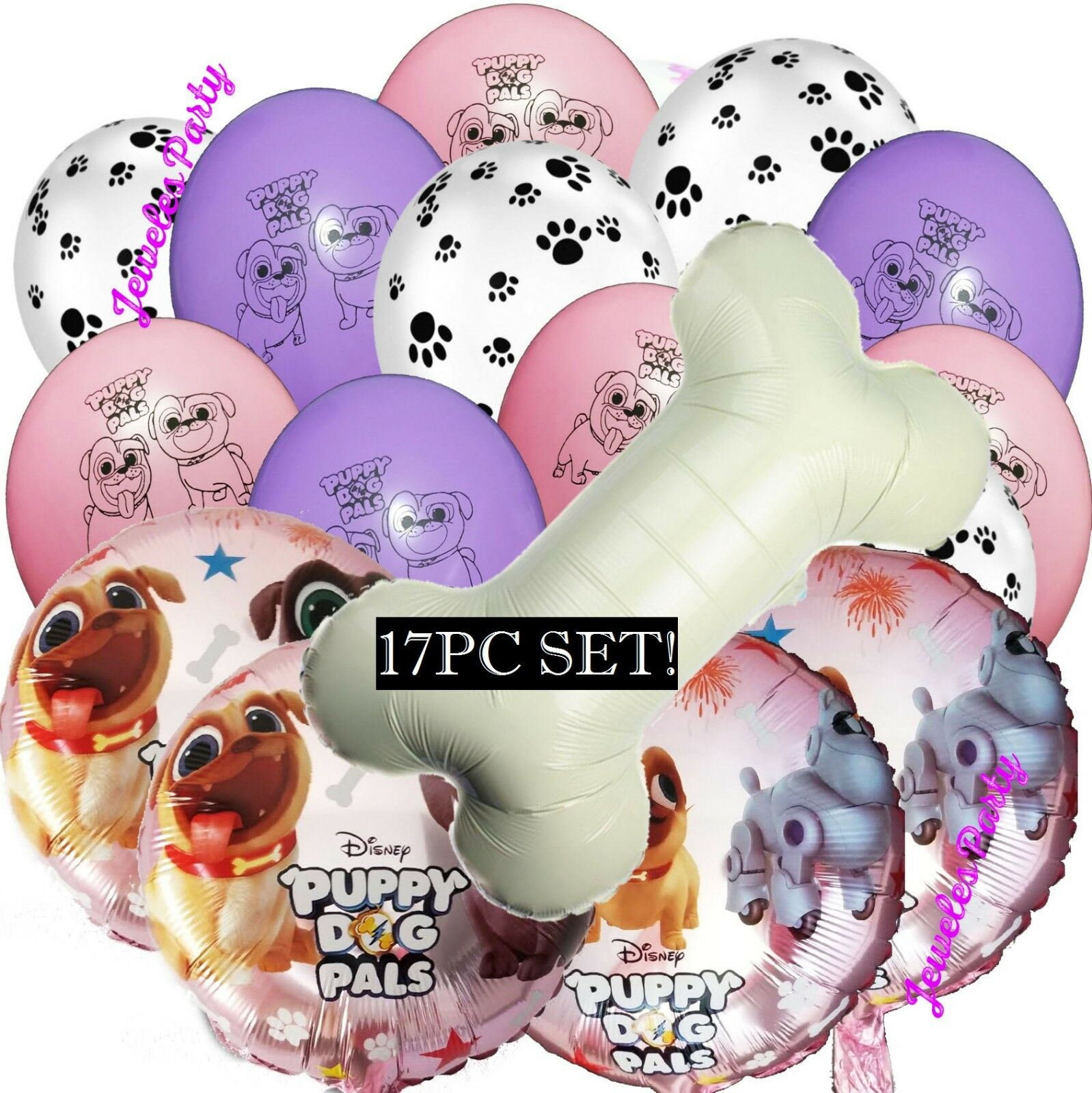 Puppy Dog Party Supplies for Puppy Dog Pals Birthday Party Decorations Includes Bone Balloons Cake Toppers Cupcake Toppers