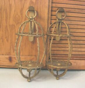 Pair-Wall-Sconces-HOMCO-Home-Interiors-MCM-Gothic-Candle-Holders-Vintage-70-039-s