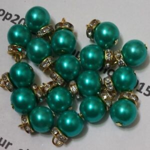 Cristal redondo 10 Hermosos Perlas de imitación con cuentas de botones de oro diamante hecho a mano