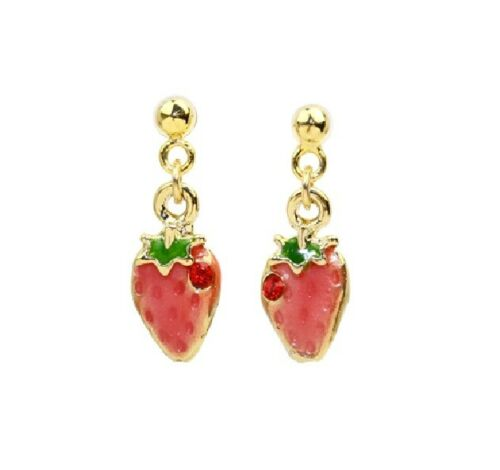 E862 Betsey Johnson Rhinestone Gem Crystal Strawberry Cherry Fruit Earrings UK