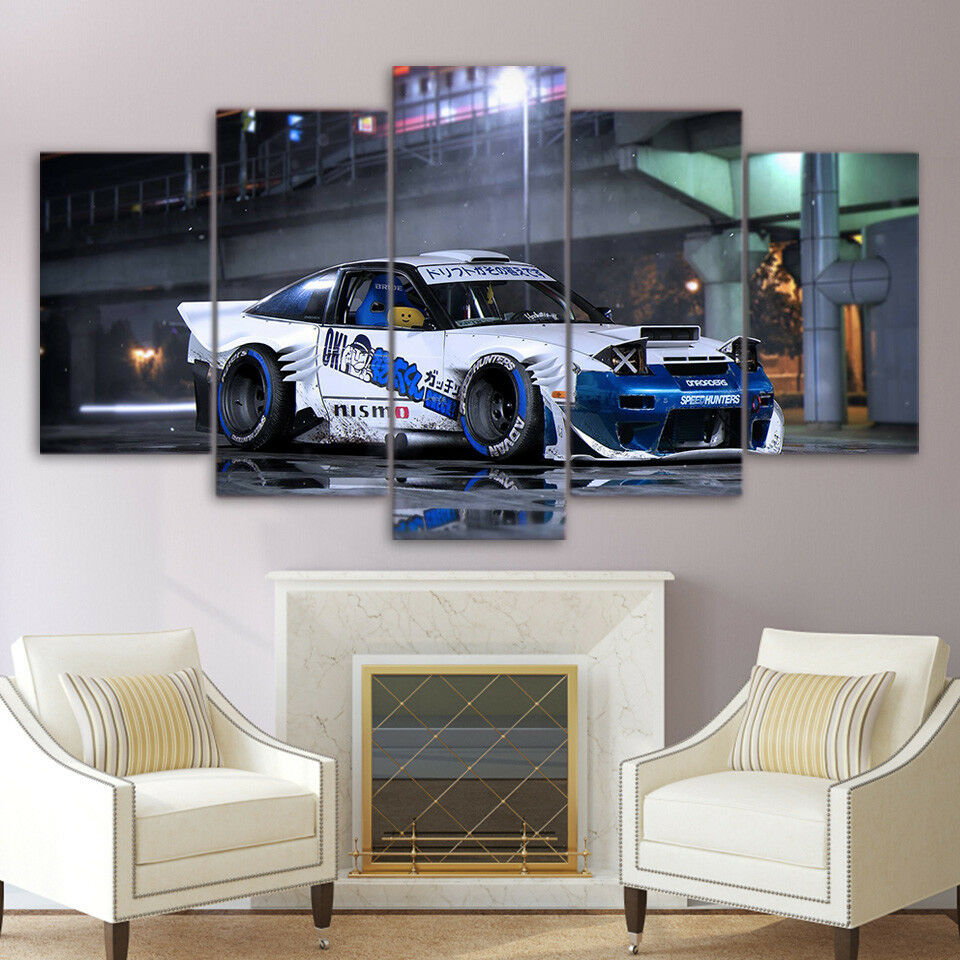 Nissan Sports Car 5 Panel Canvas Print Wall Art