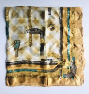 Trussardi-Silk-Scarf-Regal-Walking-Cane-Print-Gold-amp-Jade-34-034-Square-Ex-Cond