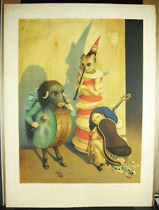 Print-Claude-Verlinde-Musicians-Animals-75cm-c1960-Animal-Musicians