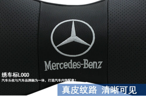 2 Stück Schwarz Farbe Echtleder Autositz Nackenkissen Auto Kopfstütze Für Benz