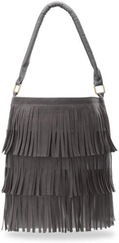 praktische Handtasche Damentasche Beutel Shopper Bag mit Fransen Boho graphit