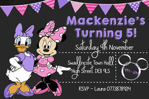 Image Is Loading Personalised Minnie Mouse Amp Daisy Duck Birthday Party