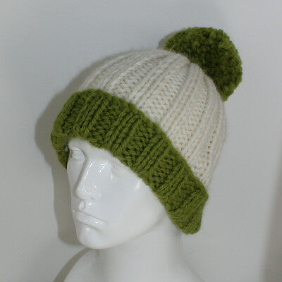 PRINTED KNITTING INSTRUCTIONS-2X2 RIB UNISEX BOBBLE BEANIE HAT KNITTING PATTERN
