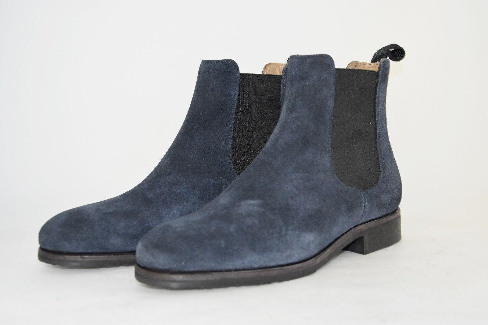 caldo MAN-5eu-6us-BEATLES BOTT- NAVY SUEDE - CAMOSCIO BLU - - - RUBBER SOLE - SUOLA GOMMA  designer online