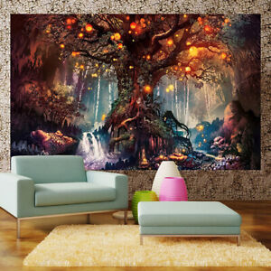 Magical Forest Tree Tapestry Wall Hanging Mandala Bedspread Throw Art Home Decor