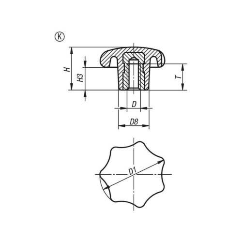 Sterngriff DIN 6336 K Ø32 M6 Duroplast Messing