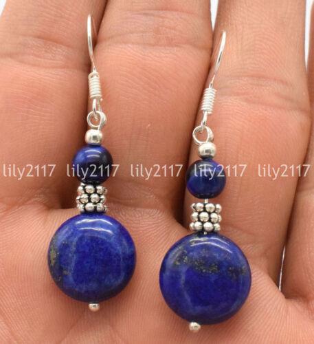 Fashion bleu 14 mm coin 6 mm Ronde Lapis Lazuli Argent 925 Crochet Dangle Boucles d/'oreilles AA