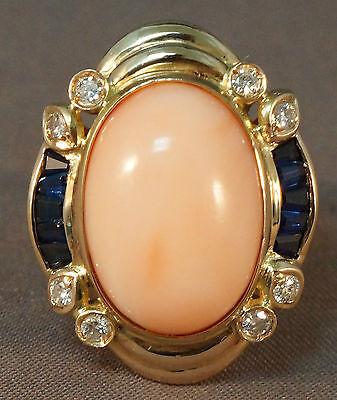 Rare Large Retro Deco Solid 14K Gold, Angel Skin Coral, Sapphire & Diamond Ring