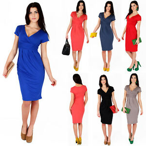 Classic-Elegant-Womens-Dress-V-Neck-Cocktail-Jersey-Office-Size-8-18-5900