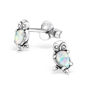 Image Is Loading S Las 925 Sterling Silver Owl Stud Earrings