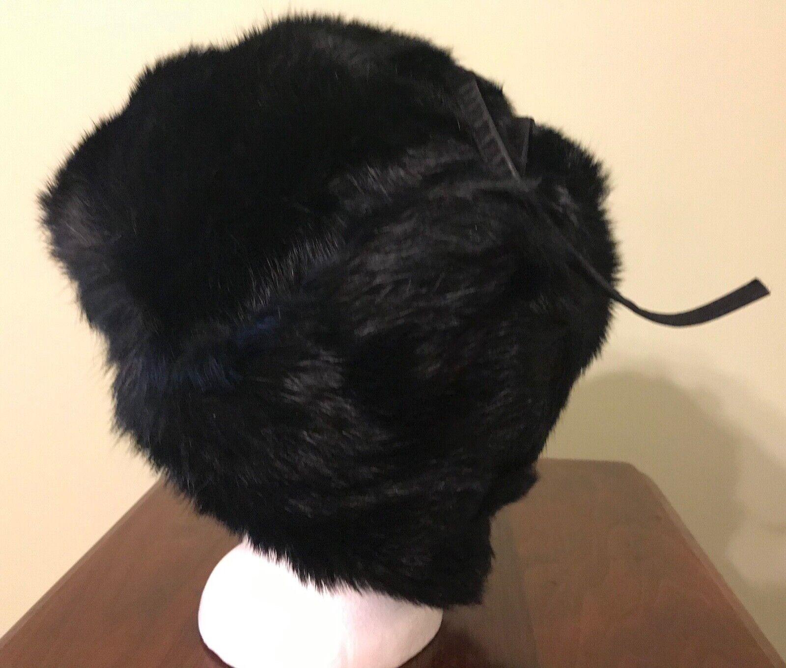 Vintage Black Mink Ladies' Hat with Flap Ear Muffs - image 2