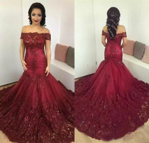 dd29b8dda6a3 Image is loading 2019-Prom-Dresses-Burgundy-Lace-Sequins-Mermaid-Dress-