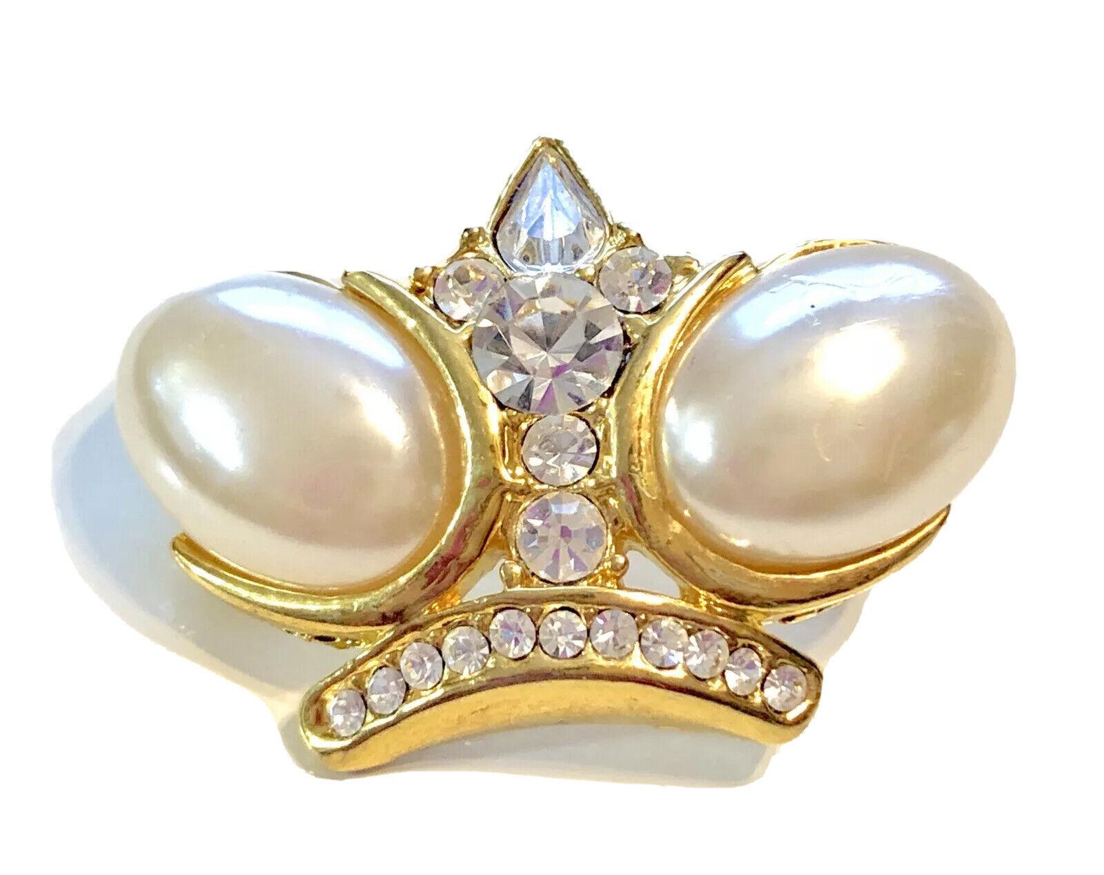 Vintage Gold Tone Pearl Rhinestone Crystal Royal … - image 1