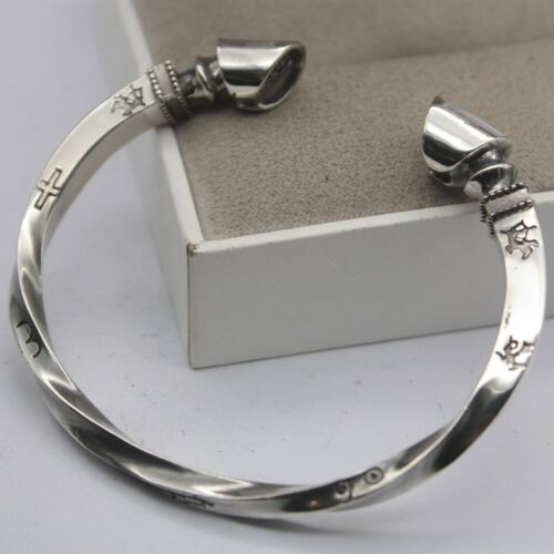 Solid 925 Sterling Silver 10mm Horse-Shoe Twist Unisex Bangle 59mm Inner Dia