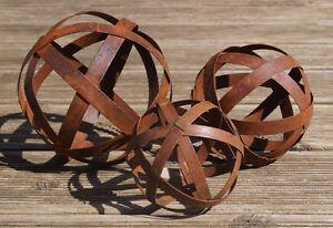 3er set rostkugel garten deko b nderkugel metallkugel edelrost geschenk metall ebay - Metallkugel garten ...