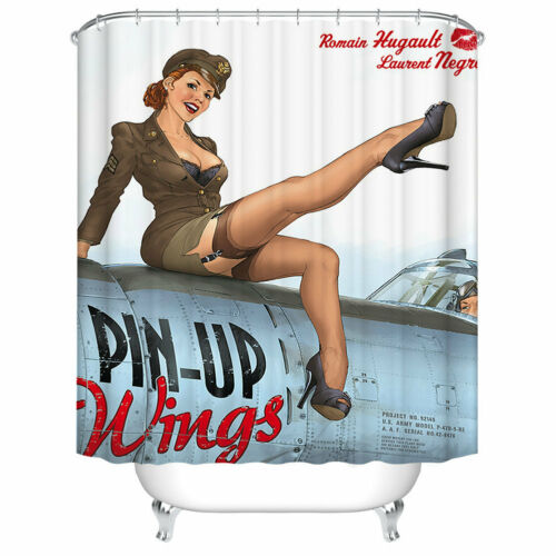 Shower Curtain Decor Military Pin Up Girl Wings Air Force Art Painting Curtains
